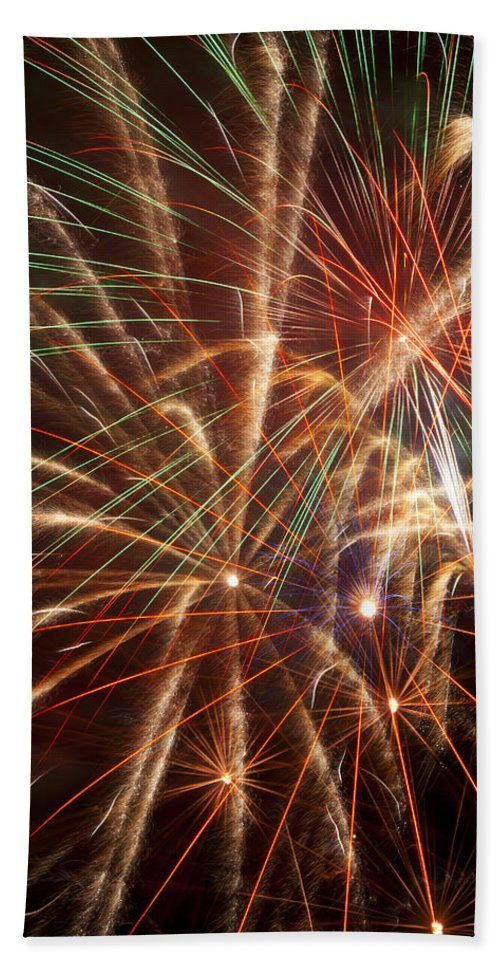 4th Of July Beach Towel featuring the photograph Colorful Fireworks by Garry Gay