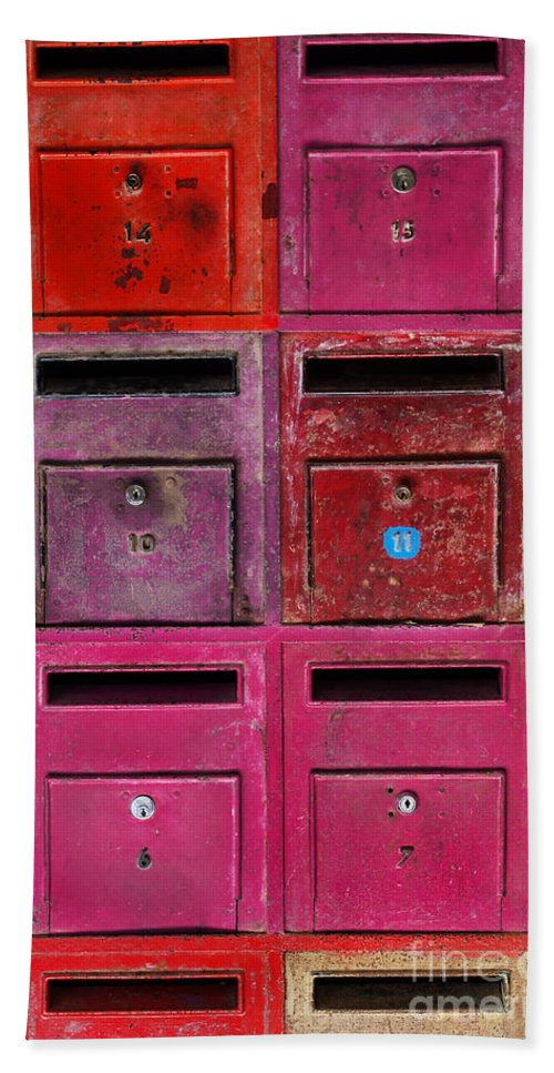 Address Beach Towel featuring the photograph Colorful Mailboxes by Carlos Caetano