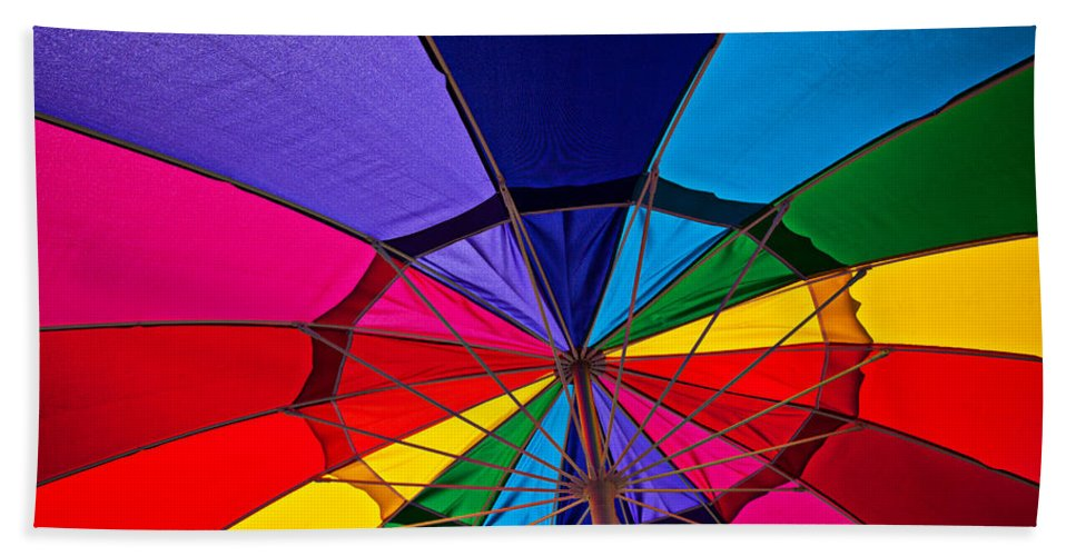 Colorful Umbrella Parasol Shade Colors Beach Towel featuring the photograph Colorful Umbrella by Garry Gay