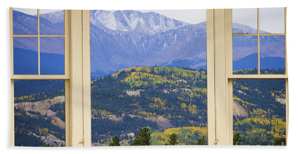 Windows Beach Towel featuring the photograph Colorful Rocky Mountain Autumn Picture Window View by James BO Insogna
