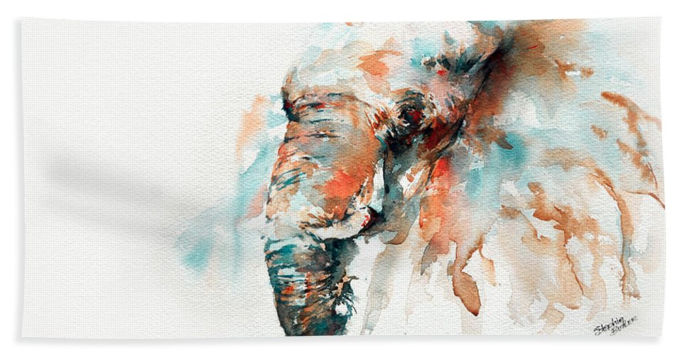 Elephant Beach Towel featuring the painting Colours Of Samburu by Stephie Butler