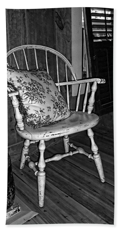 Chair Beach Towel featuring the photograph Come And Sit A Spell by Kathy Clark