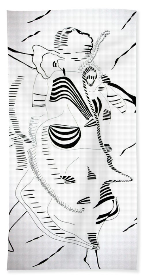 Jesus Beach Towel featuring the drawing Comoros Islands Dance by Gloria Ssali