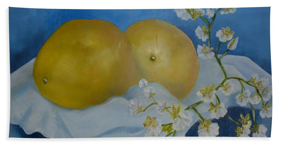 Still Life Painting Of Oranges And Flowers Beach Towel featuring the painting Compliments by Sherri Richards