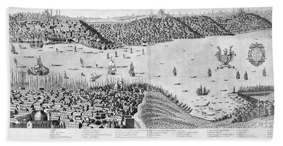 1713 Beach Towel featuring the photograph Constantinople, 1713 by Granger