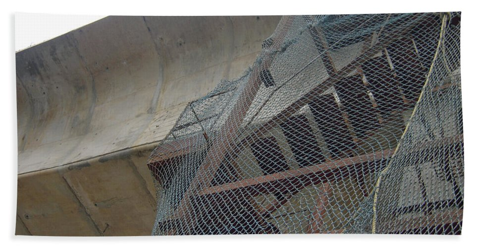 Metro Beach Towel featuring the photograph Construction Work For The Delhi Metro Along With Safety Net by Ashish Agarwal