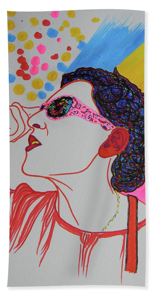 Woman Beach Towel featuring the drawing Coolpic by Marwan George Khoury
