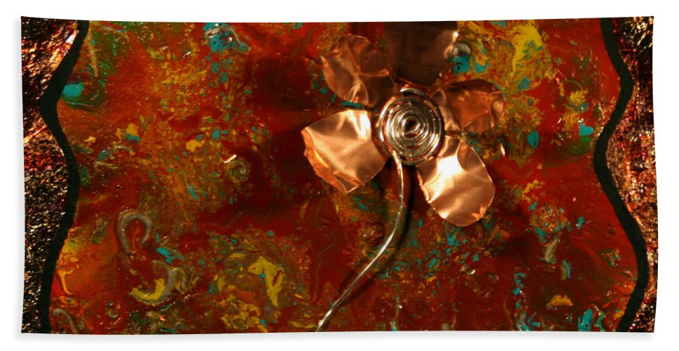 Copper Beach Towel featuring the painting Copper Flower by Connie Beattie