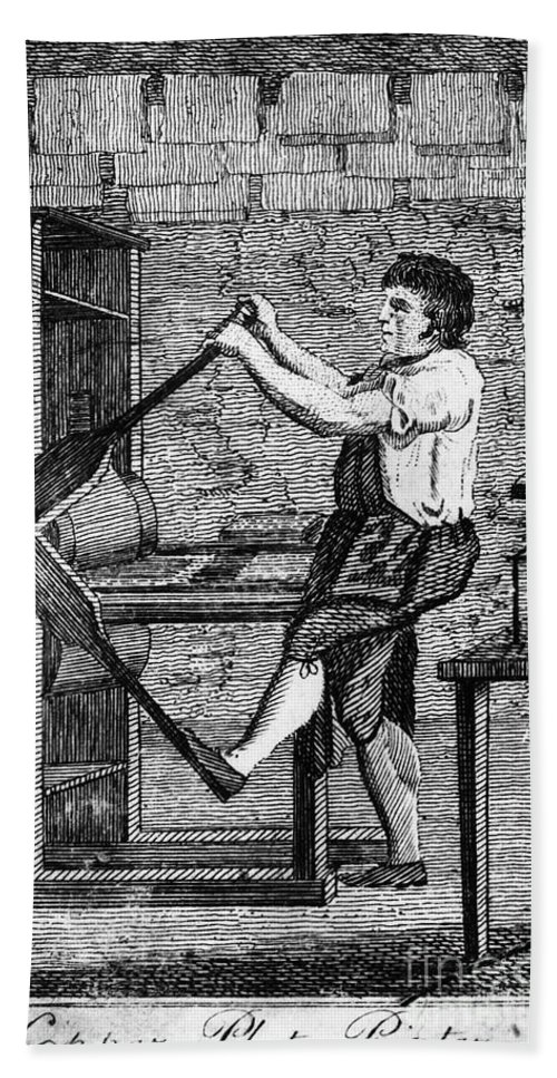 1807 Beach Towel featuring the photograph Copper Plate Printer, 1807 by Granger
