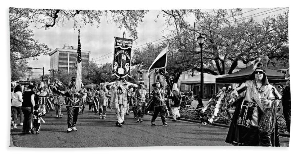 Mardi Gras Beach Towel featuring the photograph Corner Club 4 Black And White-mardi Gras by Kathleen K Parker