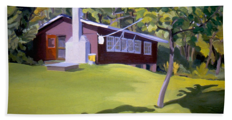 Ludlow Vermont Beach Towel featuring the painting Cottage In Ludow Vermont by Nancy Griswold