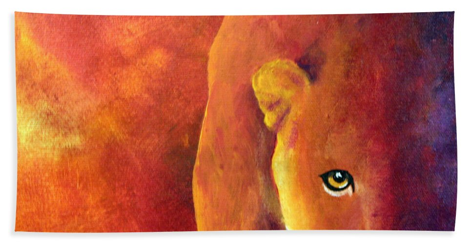 Cougar Beach Towel featuring the painting Cougar - Out Of The Shadows by Connie Beattie
