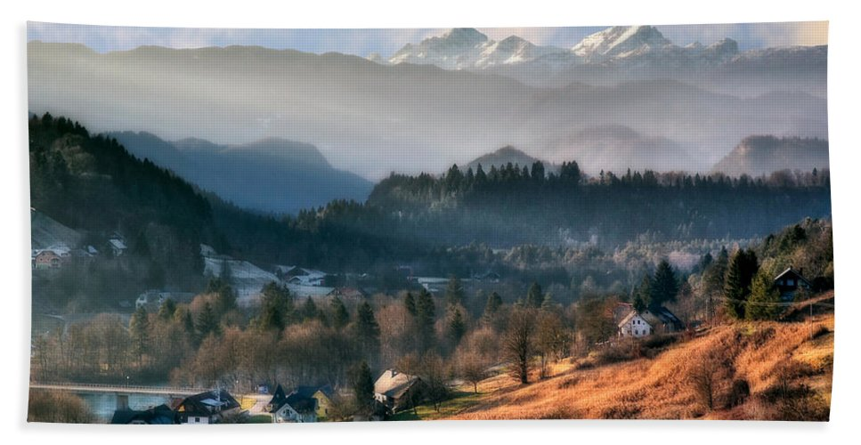 Slovenia Beach Towel featuring the photograph Countryside. Slovenia by Juan Carlos Ferro Duque