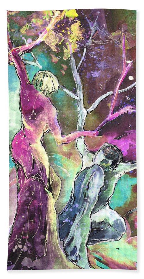 Fantascape Beach Towel featuring the painting Coup De Grace by Miki De Goodaboom