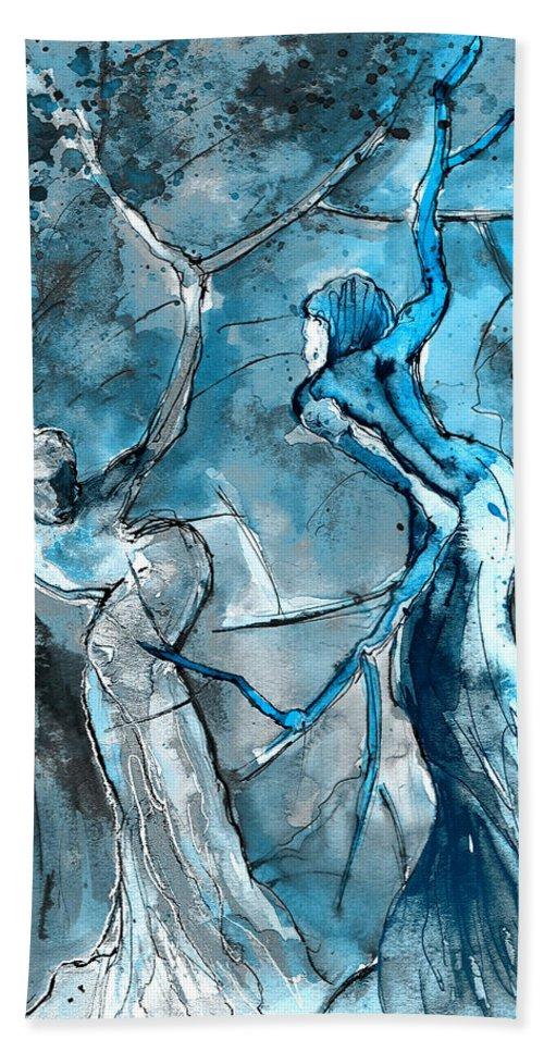 Fantascapes Beach Towel featuring the painting Coup De Tete 02 by Miki De Goodaboom