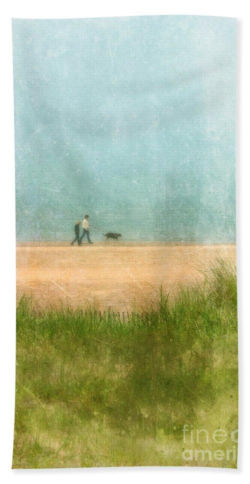 Couple Beach Towel featuring the photograph Couple On Beach With Dog by Jill Battaglia