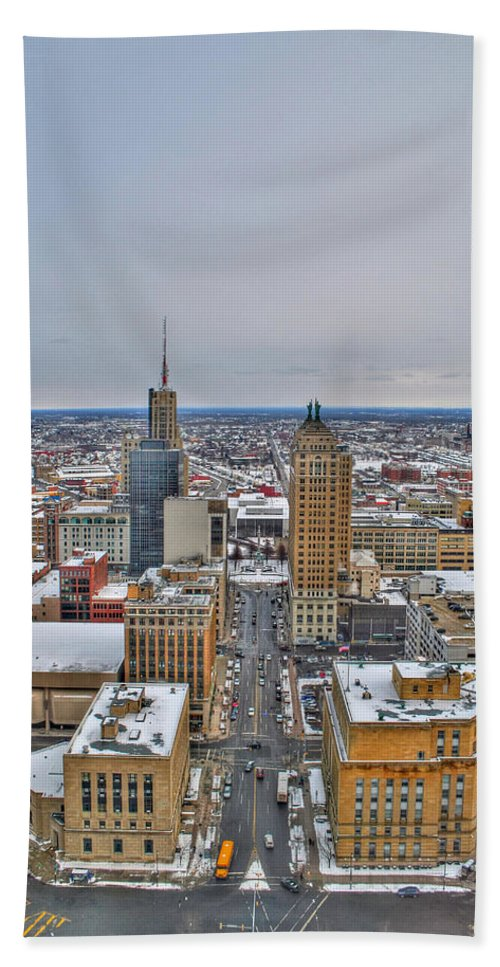 Beach Towel featuring the photograph Court St Snow by Michael Frank Jr