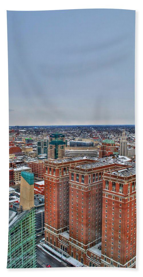 Beach Towel featuring the photograph Courthouse And Statler Towers Winter by Michael Frank Jr