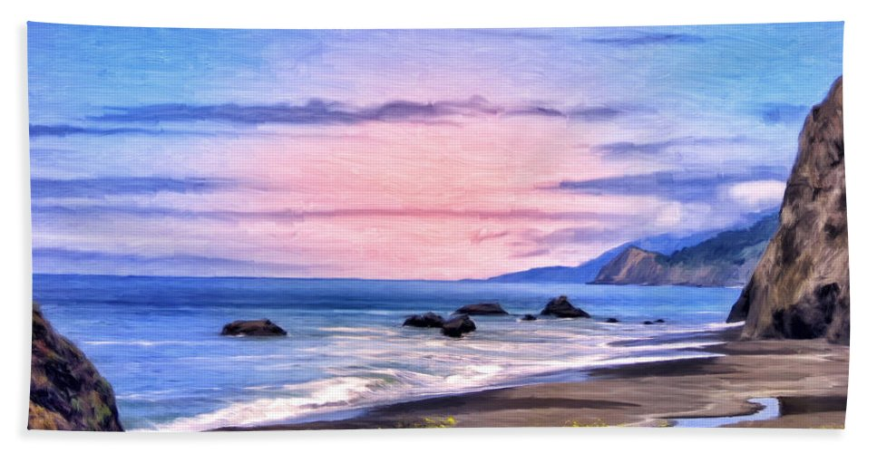 Cove On The Lost Coast Beach Towel featuring the painting Cove On The Lost Coast by Dominic Piperata