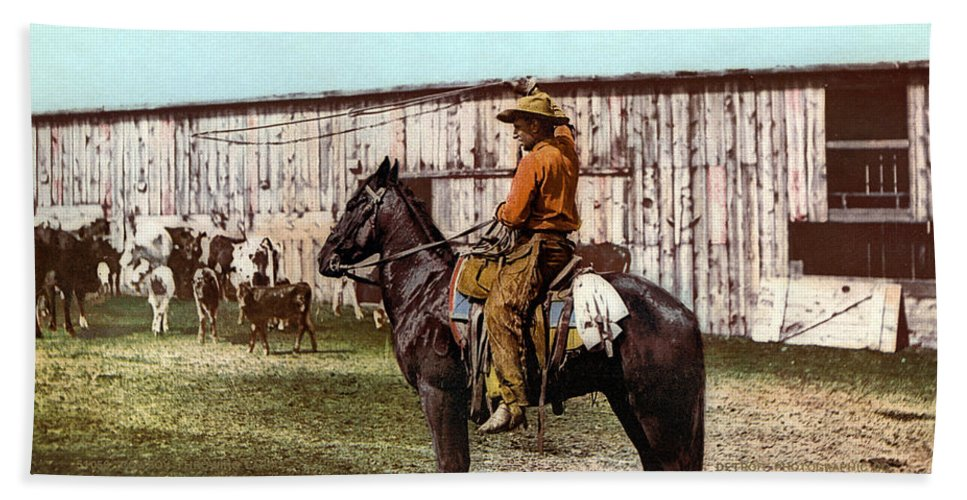 1900 Beach Towel featuring the photograph Cowboy, C1900 by Granger