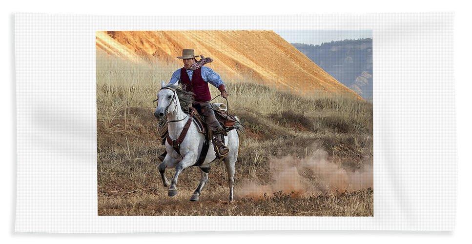 Horse Beach Towel featuring the photograph Cowboy Tom by Janet Fikar