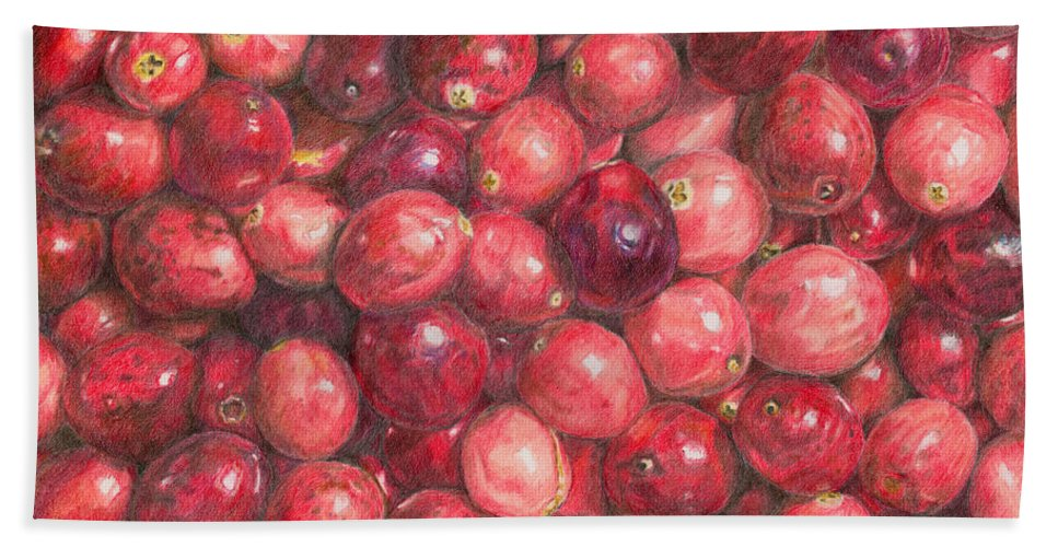 Cranberries Beach Towel featuring the painting Cranberries by Dominic White