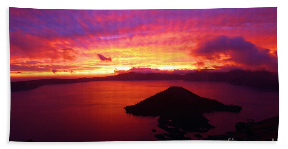Crater Lake National Park Beach Towel featuring the photograph Crater Lake Fire In The Sky by Adam Jewell