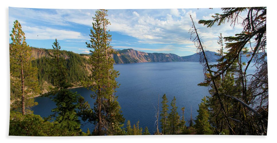 Crater Lake National Park Beach Towel featuring the photograph Crater Lake Through The Trees by Adam Jewell