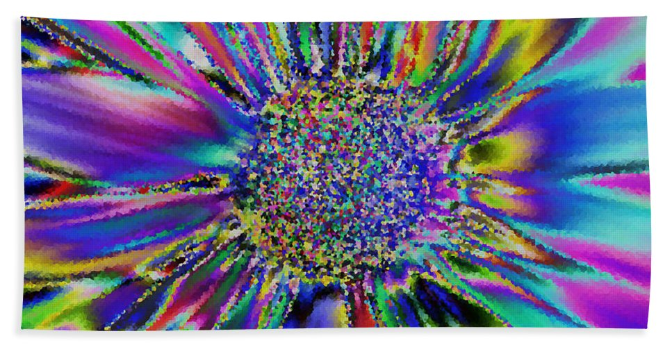 Nature Beach Towel featuring the digital art Crazy Daisy II by Debbie Portwood