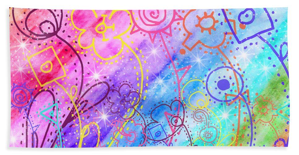 Watercolor Beach Towel featuring the painting Crazy Flower Garden by Debbie Portwood