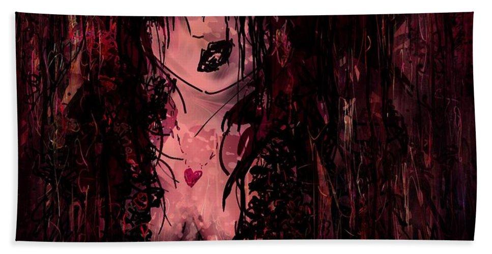Female Beach Towel featuring the digital art Crimson Torn Lace by Rachel Christine Nowicki