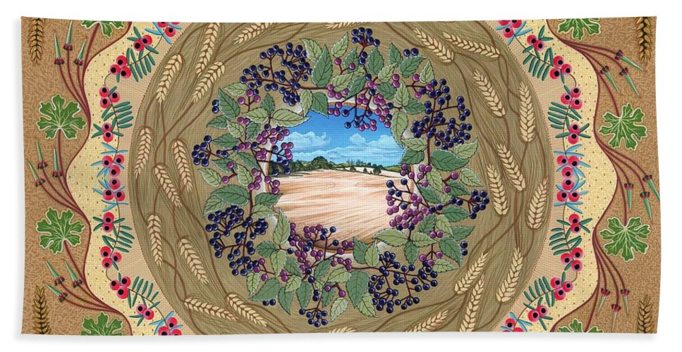 English Landscape Beach Towel featuring the painting Crop Circle by Isobel Brook Haslam