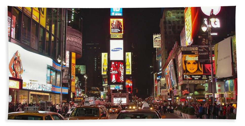 Times Square Beach Towel featuring the photograph Crossing The Street At Times Square At Night by Margaret Bobb
