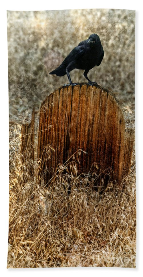 Grave Beach Towel featuring the photograph Crow On Old Wooden Grave by Jill Battaglia