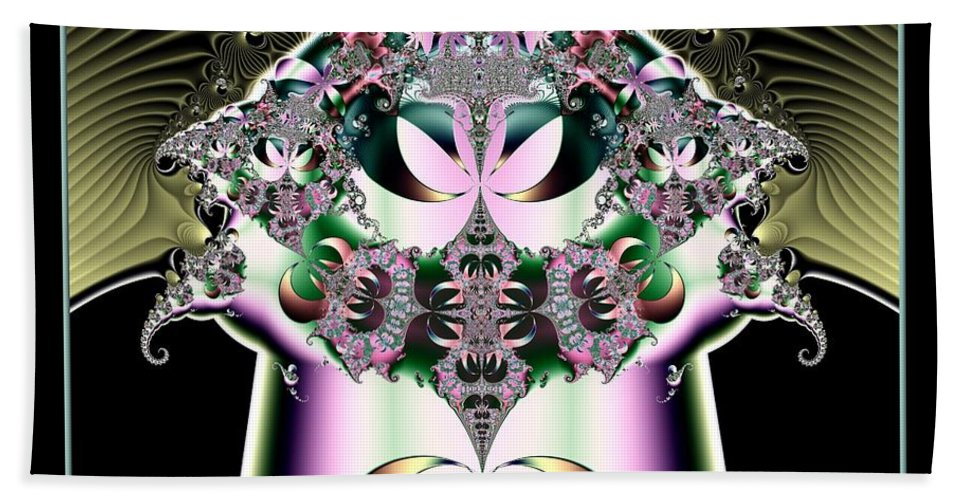 Crown Beach Towel featuring the digital art Crown And Jeweled Lotus Flowers Fractal 124 by Rose Santuci-Sofranko