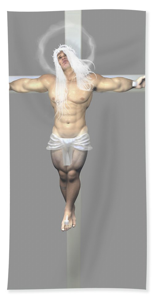 Albinic Beach Towel featuring the digital art Crucified Albinic by Quim Abella