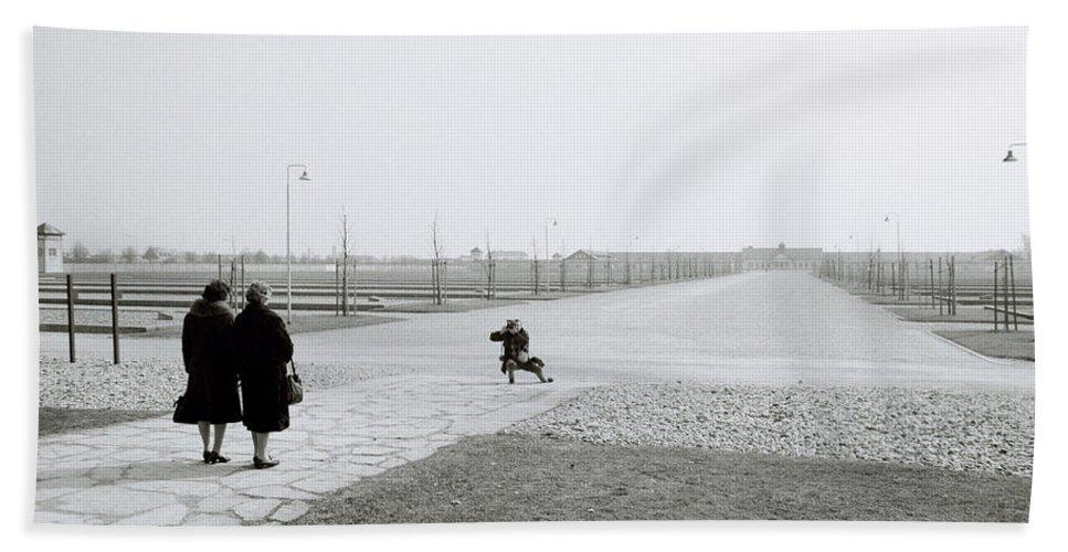 Holocaust Beach Towel featuring the photograph Dachau Concentration Camp by Shaun Higson