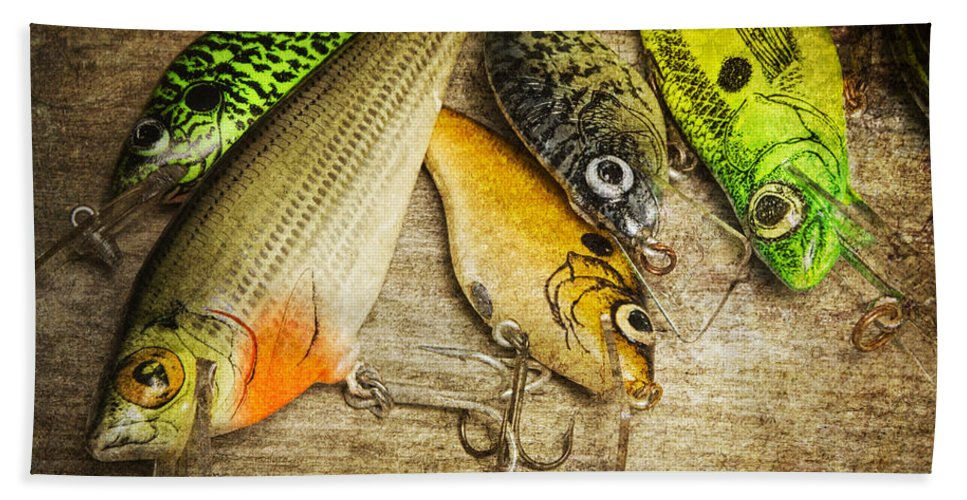 Art Beach Towel featuring the photograph Dad's Fishing Crankbaits by Randall Nyhof