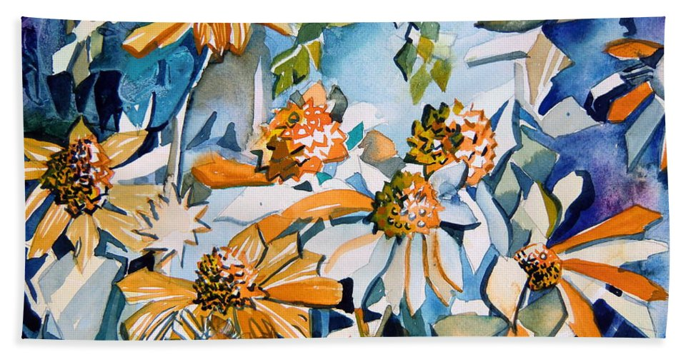 Daisy Beach Towel featuring the painting Daisy Carnival by Mindy Newman