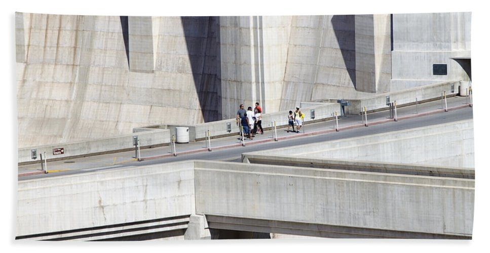 Adult Beach Towel featuring the photograph Dam Tourists by Ricky Barnard