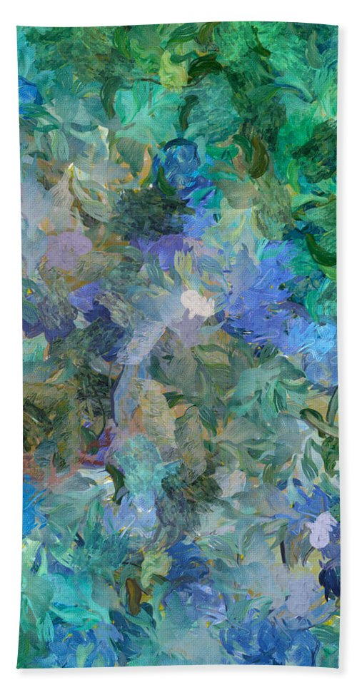Abstract Beach Towel featuring the mixed media Dance Of The Flowers by Georgiana Romanovna