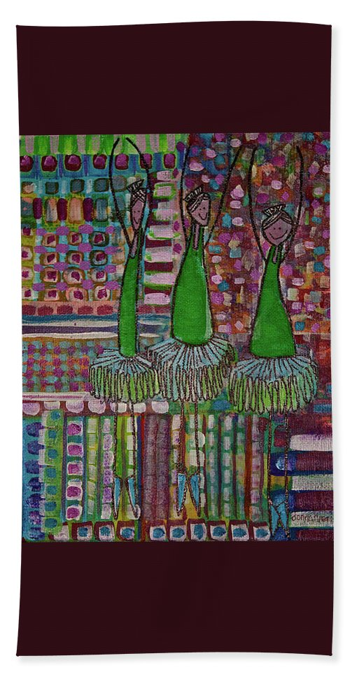 Ballerinas Beach Towel featuring the painting Dancing On The 4th by Donna Howard