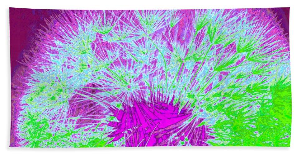 Nature Beach Towel featuring the digital art Dandilion Colorized I by Debbie Portwood
