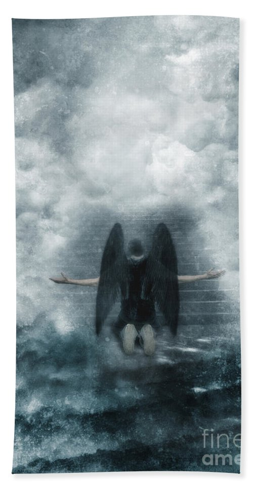 Angel Beach Towel featuring the photograph Dark Angel Kneeling On Stairway In The Clouds by Jill Battaglia