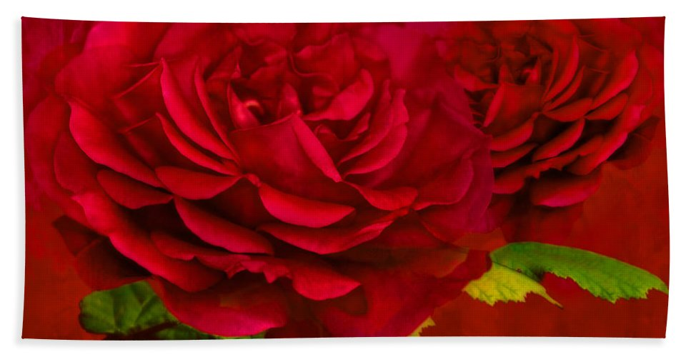 Abstract Beach Towel featuring the photograph Dark Pink Rose by Steve Purnell