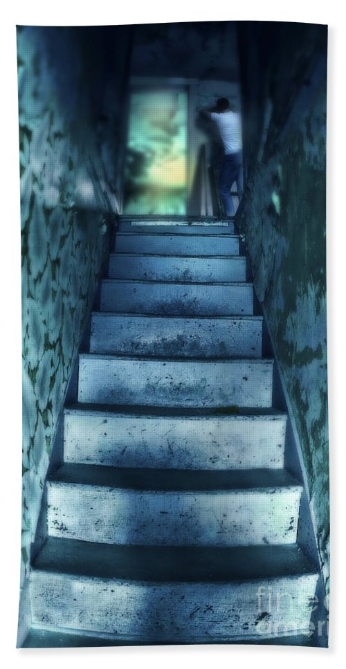 Stairs Beach Towel featuring the photograph Dark Staircase With Man At Top by Jill Battaglia