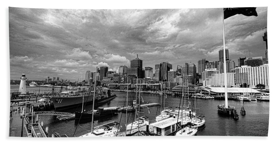 Darling Harbor Beach Towel featuring the photograph Darling Harbor- Black And White by Douglas Barnard