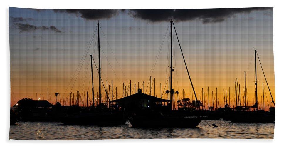 Fine Art Photography Beach Towel featuring the photograph Davis Island Yacht Club by David Lee Thompson