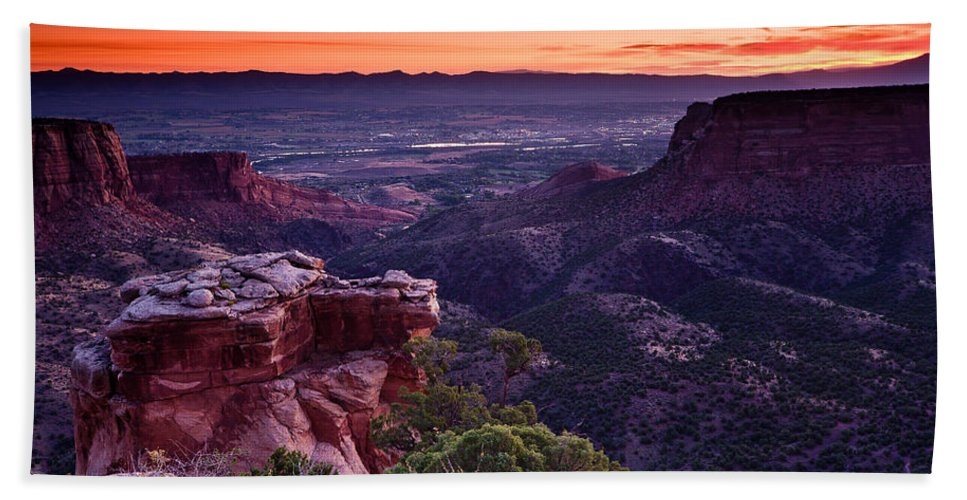 Colorado National Monument Beach Towel featuring the photograph Dawn Over Fruita by Greg Nyquist