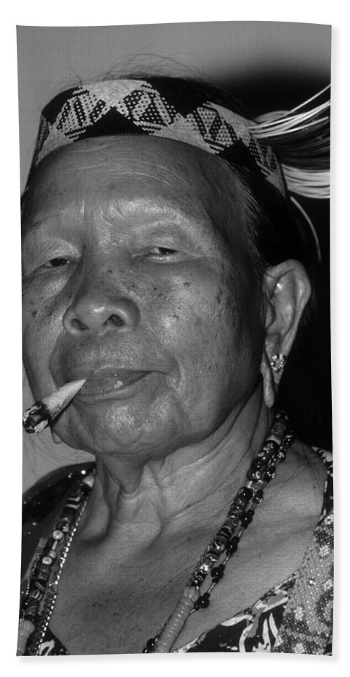 Woman Beach Towel featuring the photograph Dayak Woman by Bruce J Robinson